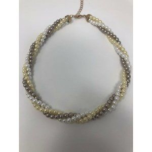 Avon HS Tri Color Pearl Twisted Necklace Gold Tone